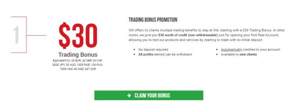 XM welcoming bonus